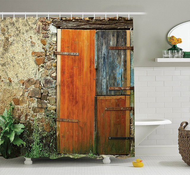 Shutters Decor Shower Curtain Set Old Fashion Country House French Style Entrance Stone Wall Farmhouse Picture Print
