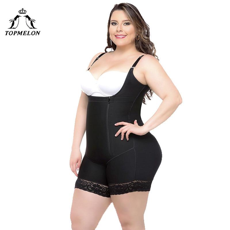 b3c19c008 TOPMELON Women Sexy Body Shaper Butt Lifter Underwear Slimming Bodysuits  Plus Big Size High Compression Push