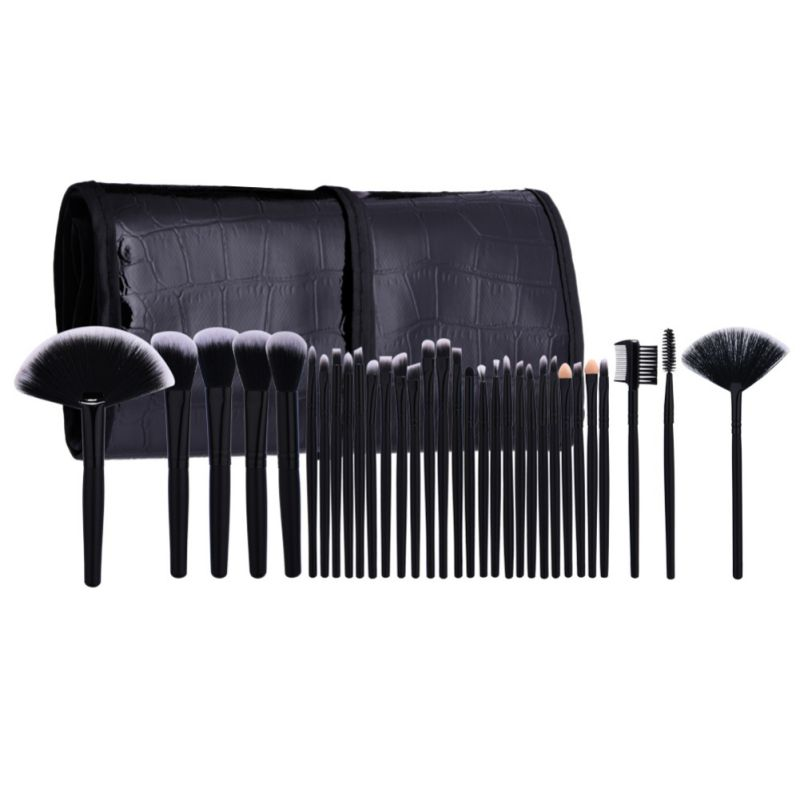 32 Pcs Pro Maquiagem Makeup Brushes Cosmetic Kit Eyebrow Blush Foundation Powder Make Up Brush Set With Black Case hot sale 2016 soft beauty woolen 24 pcs cosmetic kit makeup brush set tools make up make up brush with case drop shipping 31
