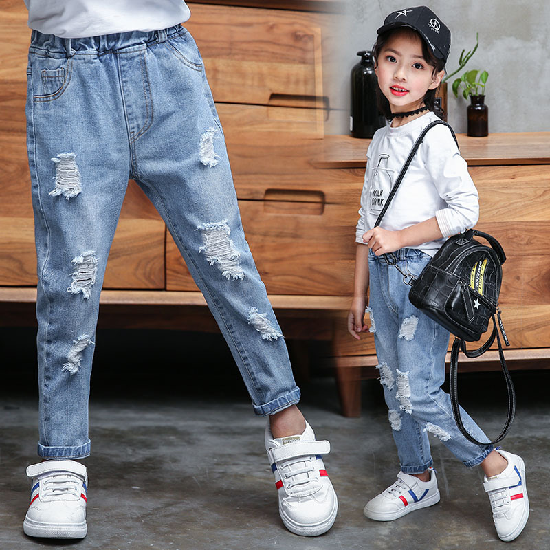 Image 3 - Jeans Baby Girl Cotton Hole Pants Fashion Autumn 2019 Light Blue Trousers Teenage School Girls Clothing Ripped Jeans for KidsJeans   -