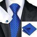 SN-561 Blue Necktie Classic Plaids Checks Tie Sets Hanky Cufflinks Silk Ties Formal Wedding Party