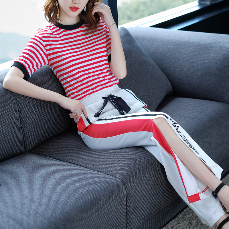 2018 Europe New Summer Women Fashion O Neck Stripe T Shirt Wide Leg Split Elastic Waist Pants 2 Piece Sets Avocado Elegant Set