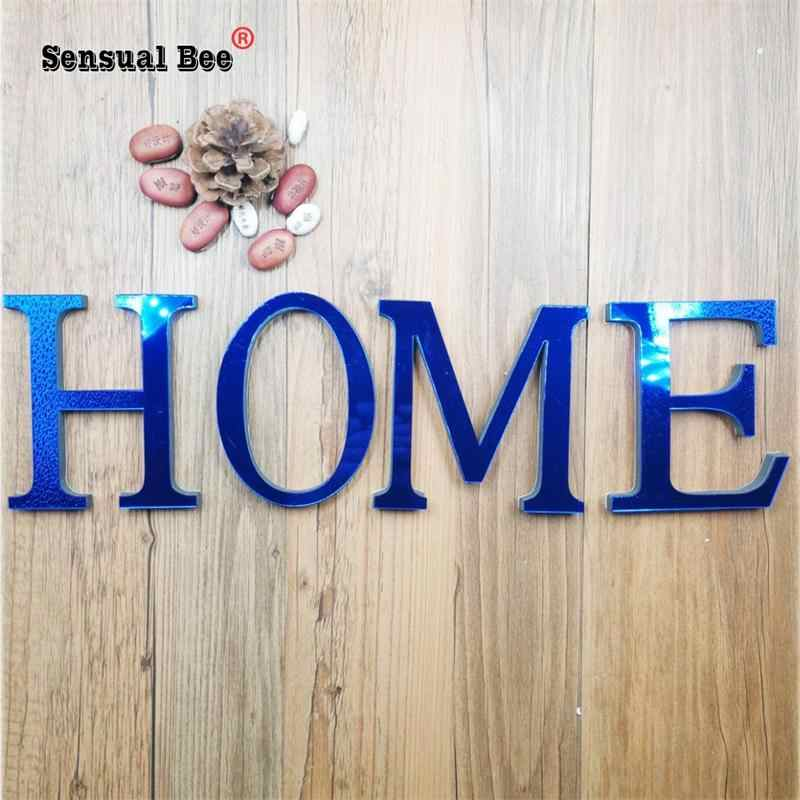 28 English Letters Acrylic Mirror Surface Wall Sticker 3D Blue Alphabet HOME Poster Festival Christmas Decoration DIY Art Mural