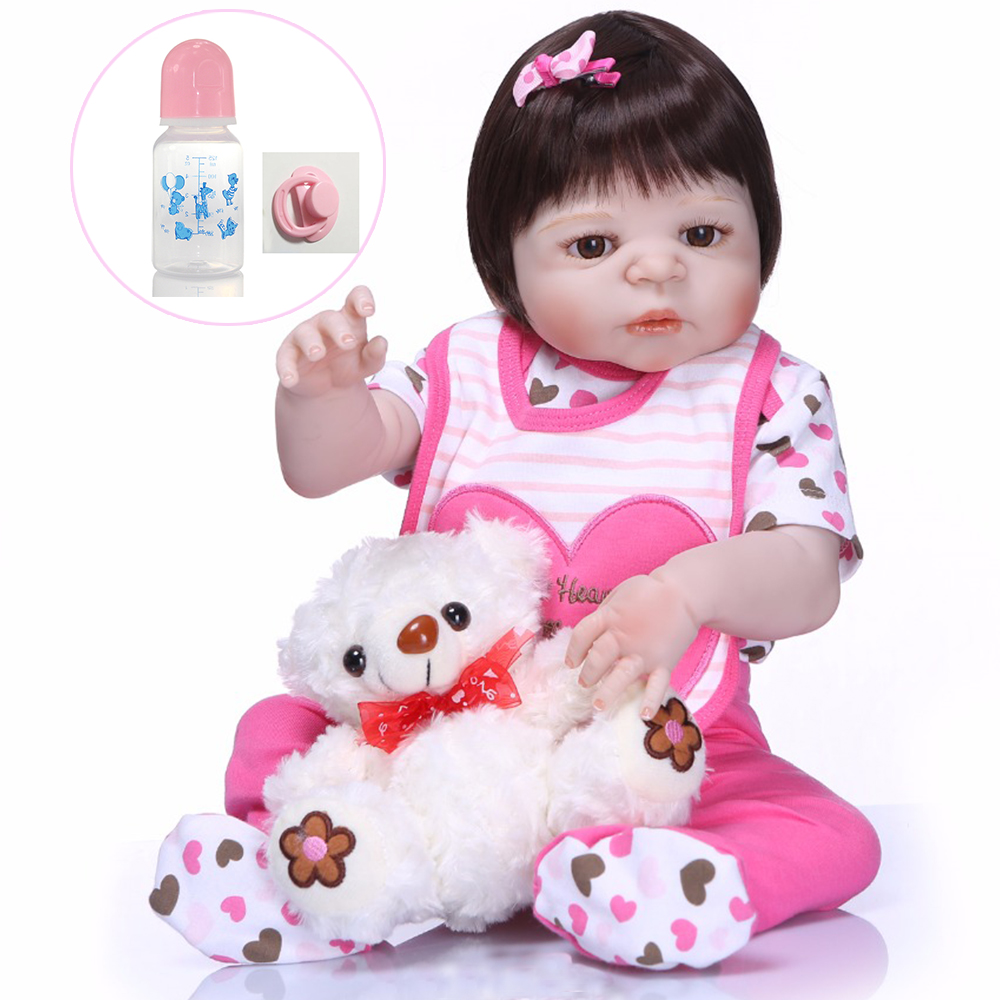 NPK 55cm whole Silicone Reborn Baby Doll Girl Toys with Pink bear pacifier Lifelike Babies Boneca hard VInyl Safety Bebe DollsNPK 55cm whole Silicone Reborn Baby Doll Girl Toys with Pink bear pacifier Lifelike Babies Boneca hard VInyl Safety Bebe Dolls