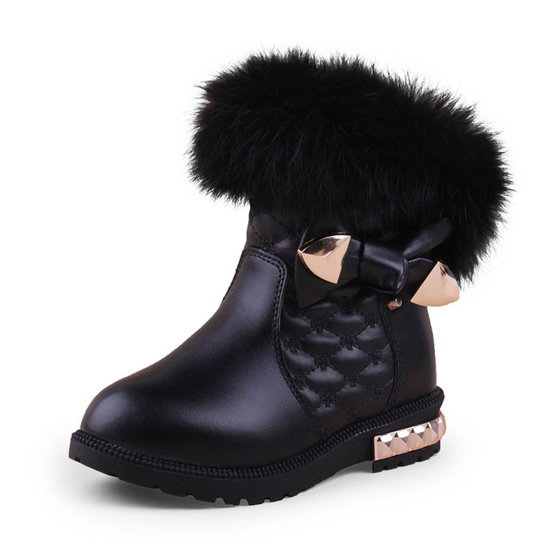 2018 New Princess Girls Boots Kids Boots for Girls Fur Cotton Warm Winter Children Snow Boots Fashion Cute Warm Shoes 2018 new girls fur one snow boots winter 2018 new children s net red children s shoes parent child warm cotton shoes lace