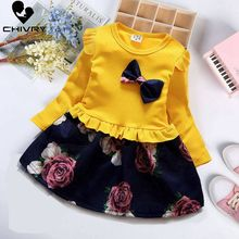 Chivry 2019 Autumn Girls Dress Cotton Long Sleeve O-neck Toddler Floral Bow Kids Dresses Fashion Clothing Vestidos