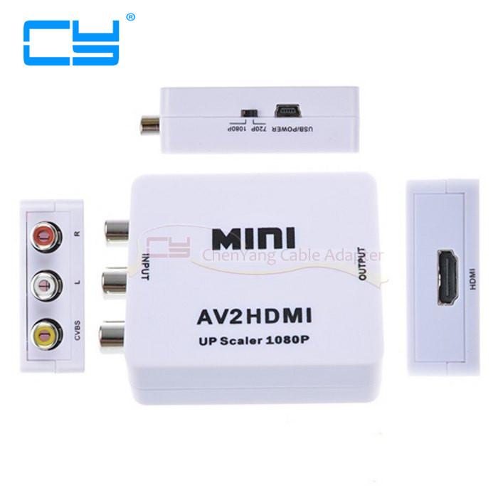 Composite AV CVBS 3RCA to HDMI Video Converter Mini Adapter 720p 1080p Upscaler AV to HDMI Adapter composite av cvbs 3rca to hdmi video converter adapter full hd 720p 1080p for hdtv vcr dvd vhs ps3 xbox white new
