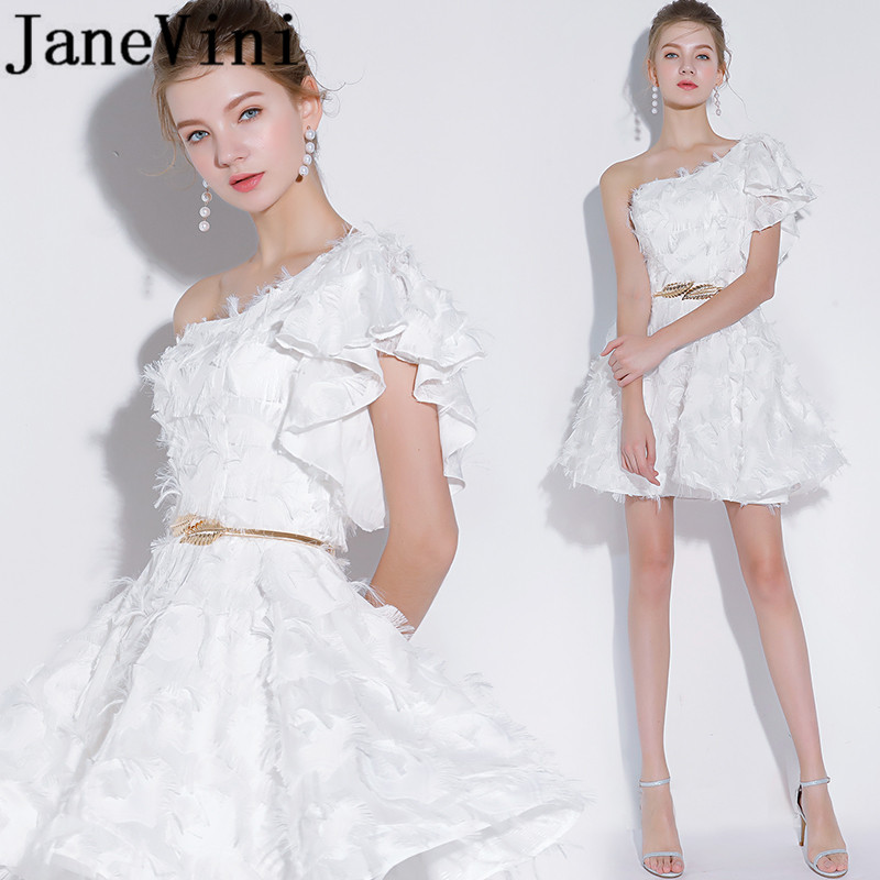 Janevini Simple White One Shoulder Short Bridesmaid Dresses With