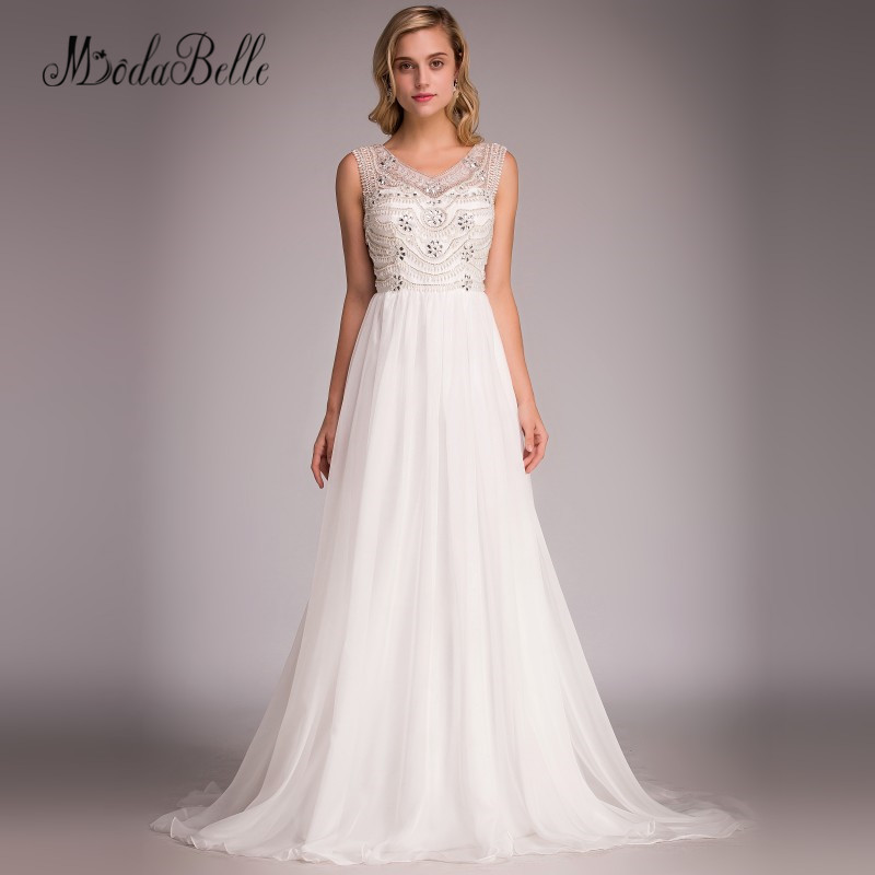 modabelle 2018 Beach Bohemian Wedding Dress Boho Chiffon A Line Sexy Pearls Beaded Bridal Gowns Cheap Elegant Brautkleider