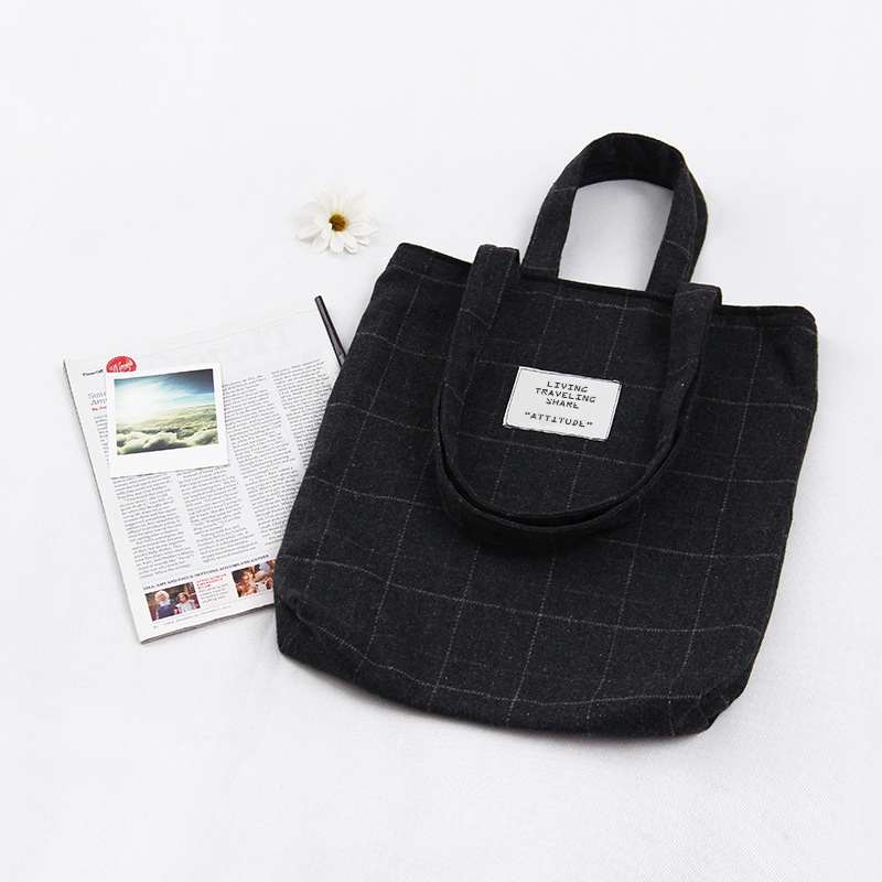 Black Coffee Grey Lattice Canvas Casual Shopping Bag Women Tote Female Handbags Words Printed Ladies Vintage Shoulder Bag WJ7202 forudesigns casual women handbags peacock feather printed shopping bag large capacity ladies handbags vintage bolsa feminina