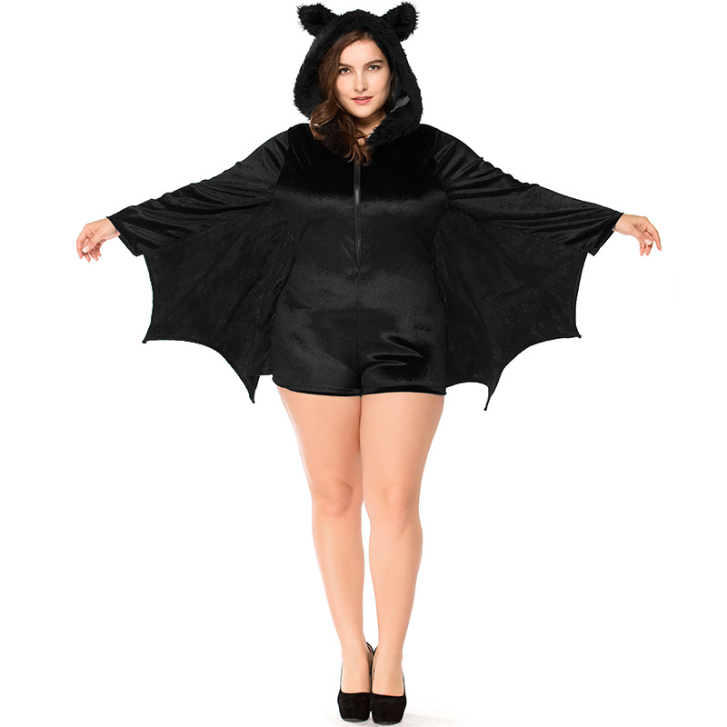 Umorden Halloween Party Costumes Plus Size Large XXXL Black Bat Vampire Costume for Women Bat Cosplay Furry Hooded Jumpsuit