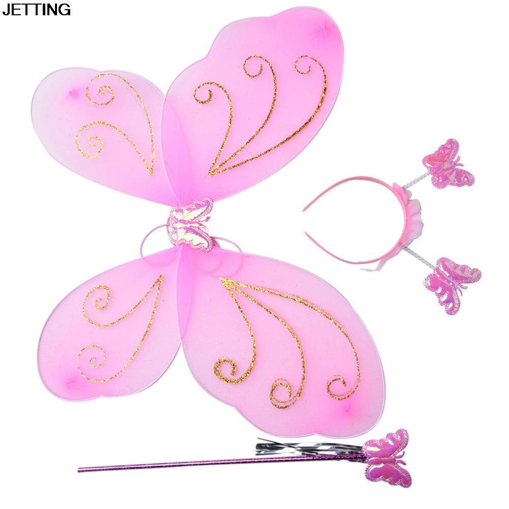 3Pcs/set Lovely Party Costume Princess Girl Kids Butterfly Wing Wand Headband Fairy Xmas Costume Set