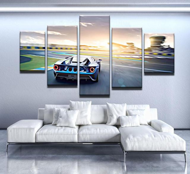 HD Print Canvas Modular Picture Sunrise Landscape Frame 5 Panel Cool Car Wall Art Painting Fashion