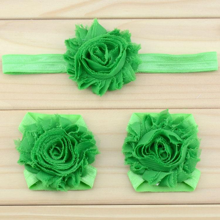 """Украшение для детей, повязка на голову, повязка для малышей цветы в стиле """"шэбби шик"""" повязка на голову босоножки ботинки и набор повязок для новорожденных; детская одежда для девочек аксессуары для волос - Цвет: green"""