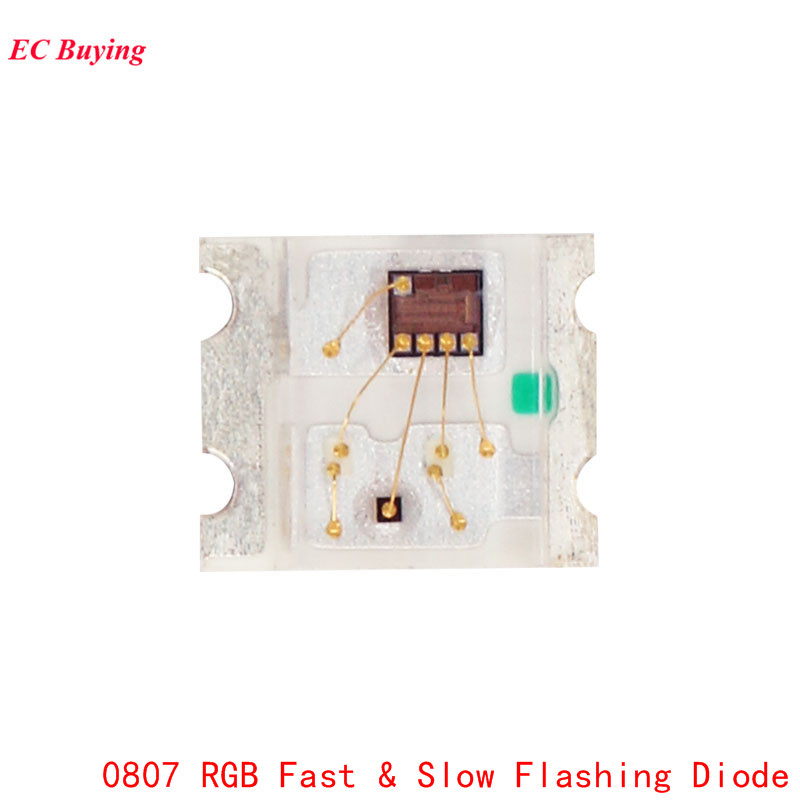 100Pcs 0807 Slow And Fast Flashing <font><b>RGB</b></font> <font><b>SMD</b></font> Led Lamp 0805 <font><b>RGB</b></font> Slow Fast Flash Diode Colorful Diodes DIY image