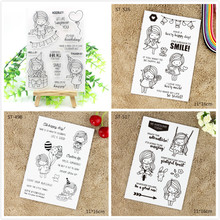 YPP CRAFT Lovely Girl Transparent Clear Silicone Stamps for DIY Scrapbooking/Card Making/Kids Christmas Fun Decoration Supply