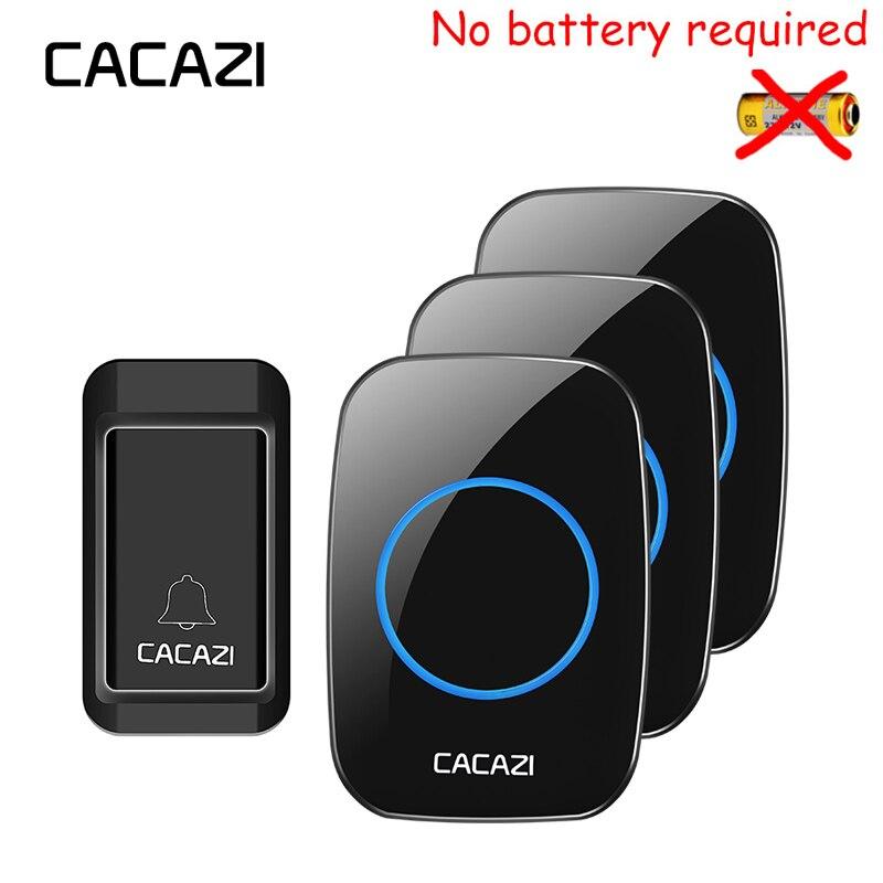 CACAZI Nouveau Sans Fil Sonnette Pas de batterie Étanche UE/UK/US Plug voyant 120 M à distance 1 auto-alimenté bouton 3 récepteurs