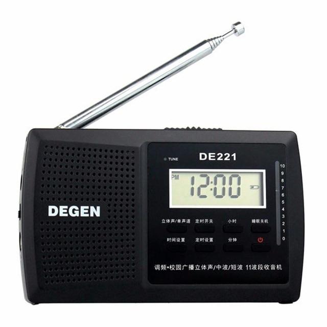 Оригинал ДЕГЕН DE221 Радио FM Стерео FM1-2/MW/SW1-8 11-полосный DSP Радио Portable Multiband Радиоприемник бесплатная доставка