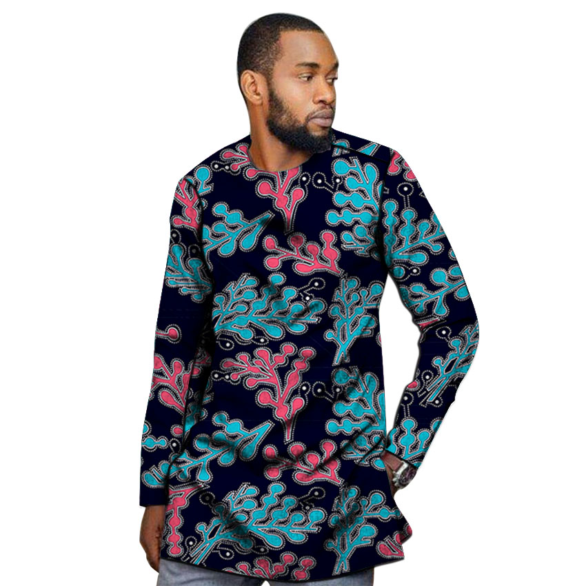 African outfits men's shirt custom made Ankara o neck dashiki print groom tops male formal Africa clothing-in Tuxedo Shirts from Men's Clothing