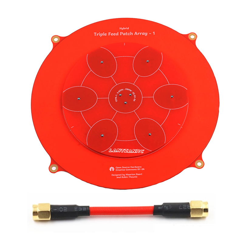 1pc Pagoda Array Antenna Triple Feed Patch 5.8G Pagoda-pro Rotating Big Pagoda Antenna for Racing FPV RC Aircraft Spart Parts conception of patch antenna at wide band