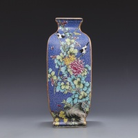 Qing Dynasty Yong Zheng year mark enamel blue square flower and bird celestial bottle antique porcelain ancient porcelain