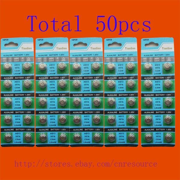 50 X AG13 LR44 <font><b>357</b></font> SR44SW щелочные батареи tqp