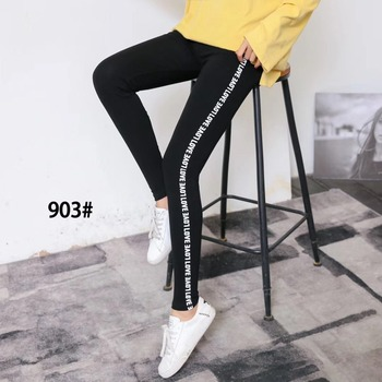 Korean thin high waist tight nine-cent cotton pants 1