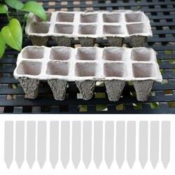 Behokic 10 полоски площадь торфяные горшочки рассады начало Кубки Детские травы семян Биоразлагаемые горшки с 50 шт. Label Maker теги