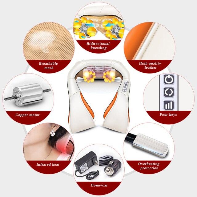 Shiatsu Cervical Back and Neck Massager Shawl Electric Roller Heat Device Manual China Home Car Massage Machine 2