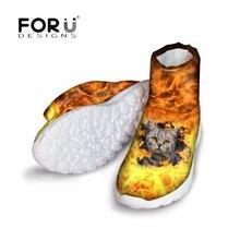 Forudesigns Мода 2017 г. зимние Для женщин теплые полусапожки 3D пожара животное кошка печатает Для женщин водонепроницаемые резиновые сапоги Туфли без каблуков женская обувь