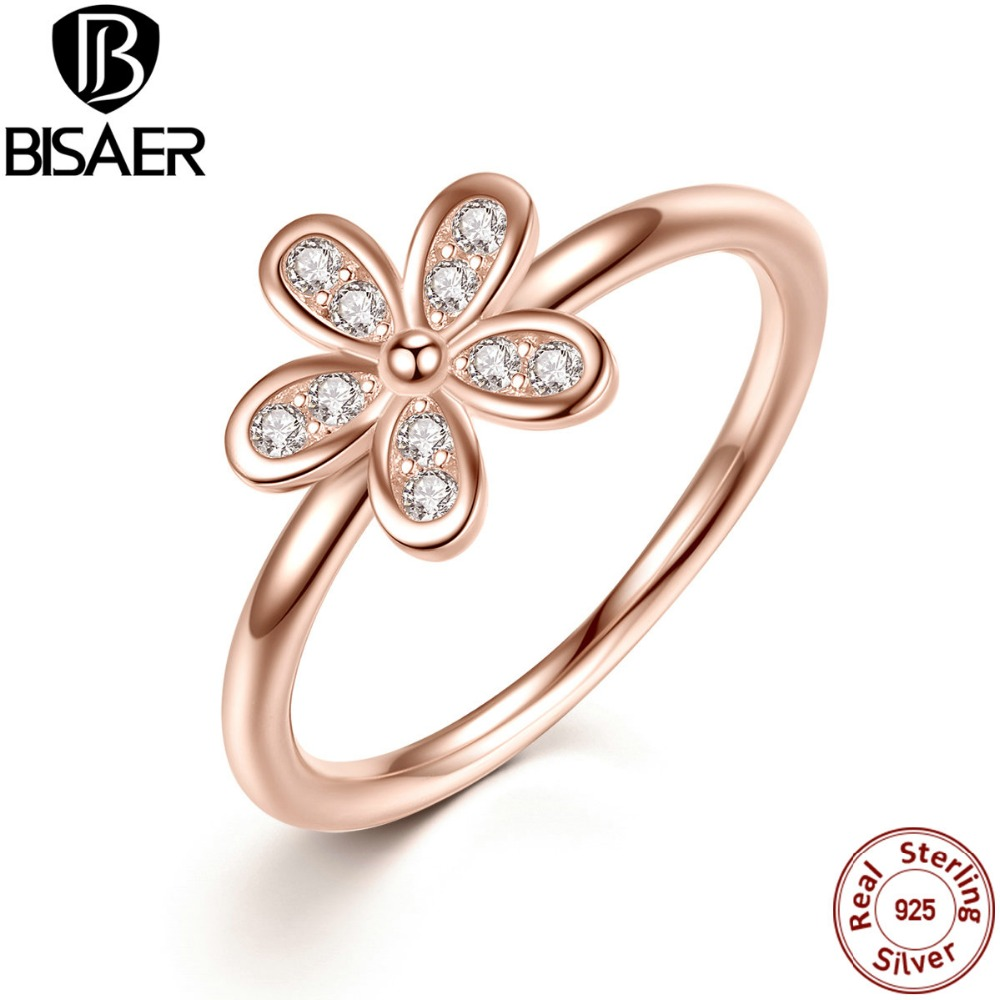 925 Sterling Silver Rings Dazzling Daisy, Rose Gold Color & Clear CZ Finger Ring Wedding Jewelry WEU7188