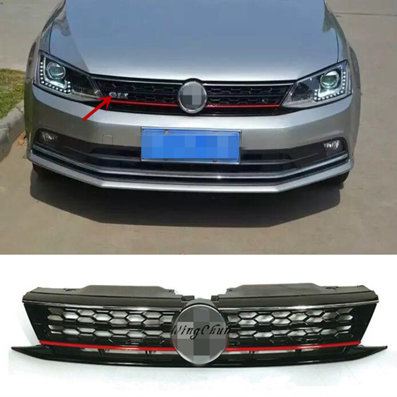 High Quality ABS Honeycomb GLI Front Upper Grille Fit For VW Jetta MK6 2015 2016 Up Grill car front bumper mesh grille around trim racing grills 2013 2016 for ford ecosport quality stainless steel