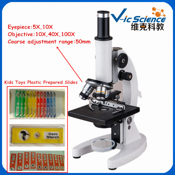 Fantacy kids toys biological microscope with plastic prepared slides for kids