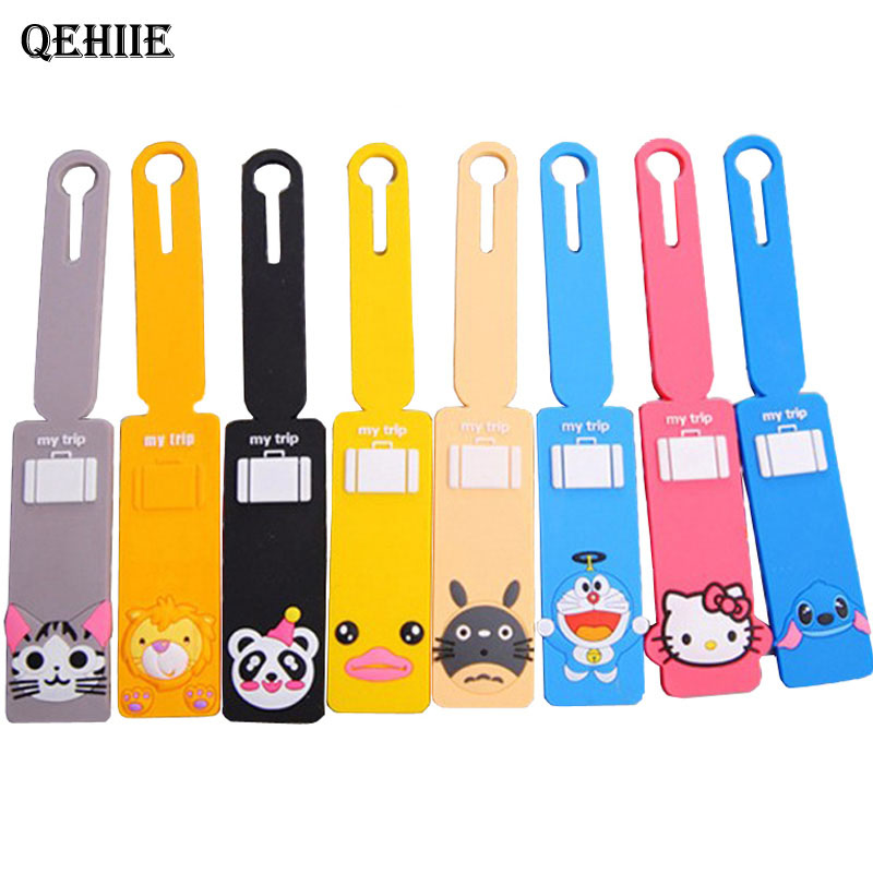 Travel Accessories Baggage Tag Lovely Cartoon Silicone 14 Color Suitcase Baggage Checklist Portable Label Luggage tag цена 2017