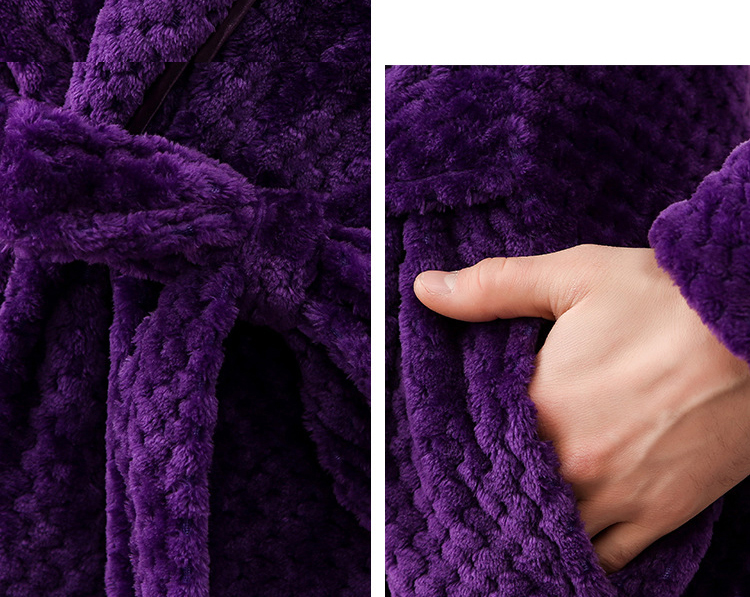 Winter Male Femlae Bathrobe Flannel Thick Robe Long Sleeve Soft Warm Bathrobe Men Women Home Wear Gown Robes Dressing Gown