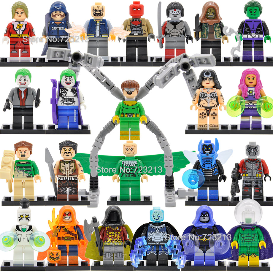 Single Super Hero Dr Octopus Figure Starfire Killer Croc Vulture Katana Mysterio Robin Electro Sandman Building Blocks Toys(China)