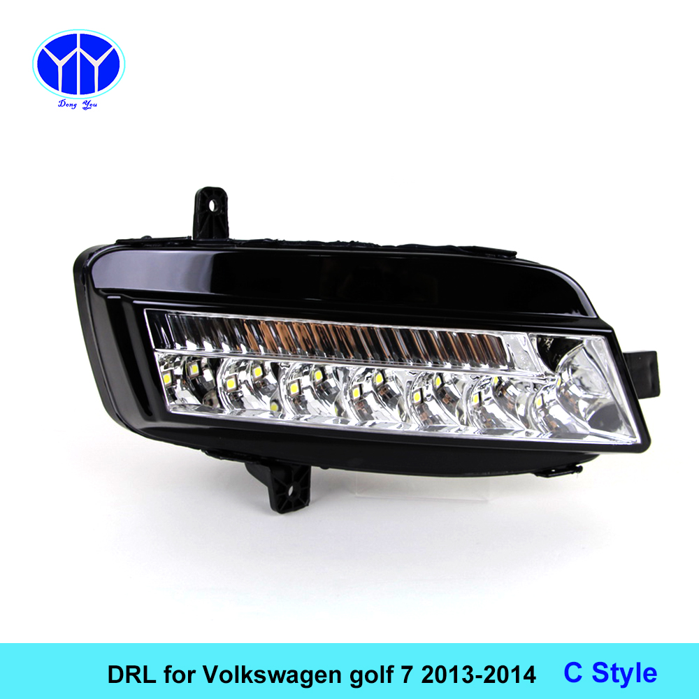 Car DRL kit for VOLKSWAGEN GOLF 7 2013 2014 LED Daytime Running Lights bar Daylight fog lamp bulb light for car VW led drl 2x 9006 hb4 led projector fog light drl 12w no error for volkswagen golf 6 mk6 2011 2012 scirocco 08 on t5 transporter 2003 2016