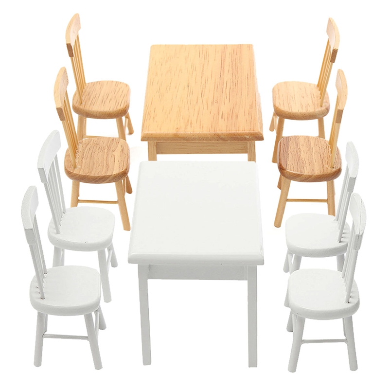 5Pcs/set 1/12 Scale Miniature Wooden Dining Chair Table Furniture Set For  Doll