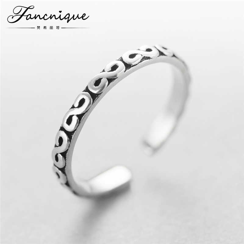 Handmade Sterling Silver 925 Antique Pattern Small Size Women Tail Ring Adjustable Free Shipping