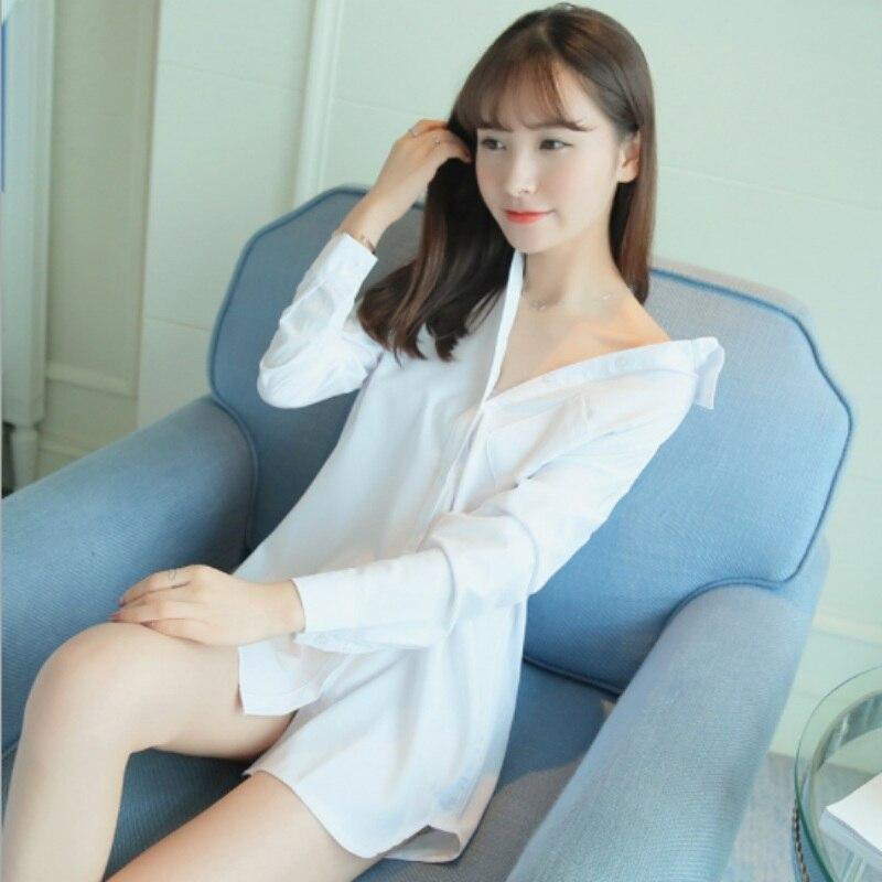 Ladies SexH Cotton Night Dress Long Sleeve Nighties V-neck Nightgown Casual Nightdress Solid Sleepwear Nightwear For Women H6