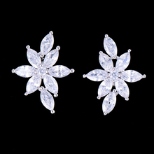 SisCathy Handmade Full Cubic Zirconia Earrings For Women Fashion Bohemia korean Bridal Wedding Luxury Stud Earrings