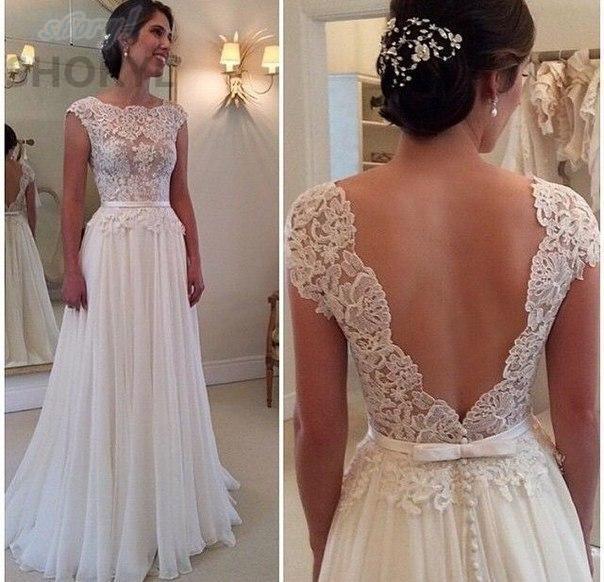 2017 custom made sexy cheap wedding dresses vestido de noiva casamento chiffon lace backless robe de