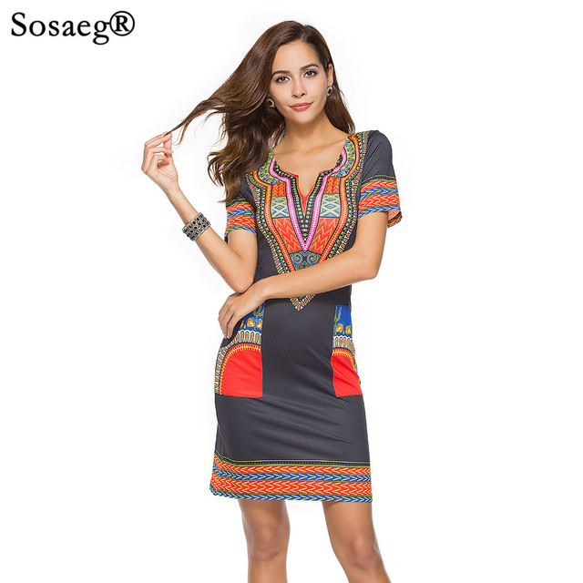 b27a5bb8c5fd Sosaeg 2018 Spring And long casual Summer beach dresses Nation Wind  Printing Dress women Girls Women s clothes sexy fashion