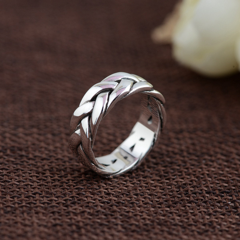 FNJ 925 Sterling Silver Rope Ring Anillos Round S925 Thai Silver Rings For Women Jewelry Male Men Big Size