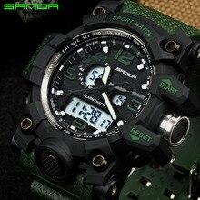 SANDA Brand Dual Display Наручные часы Мужские часы Лучшие бренды Роскошные мужчины спортивные часы водонепроницаемые часы relogio masculinos 2017