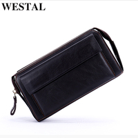 WESTAL Genuine Leather Men's Wallets for Credit Card Wallet Male Holder Clutch Male bags Coin Purse Men Genuine leather new 9032