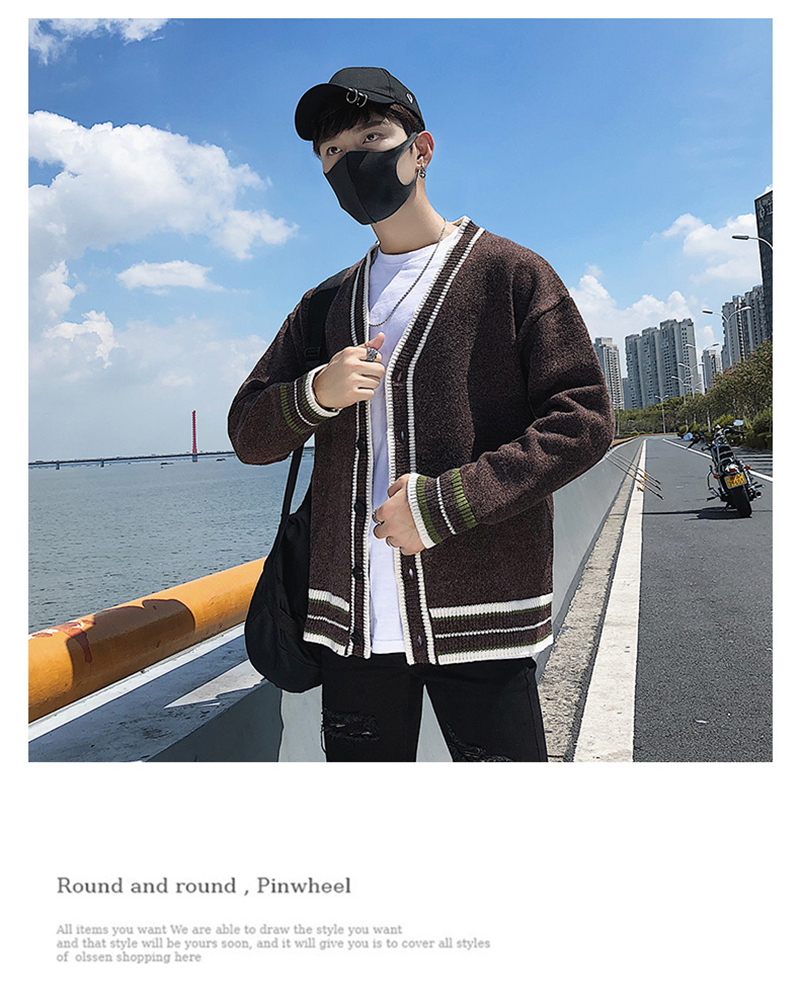 Check Button Cardigan Male Oversize Loose Streetwear (24)
