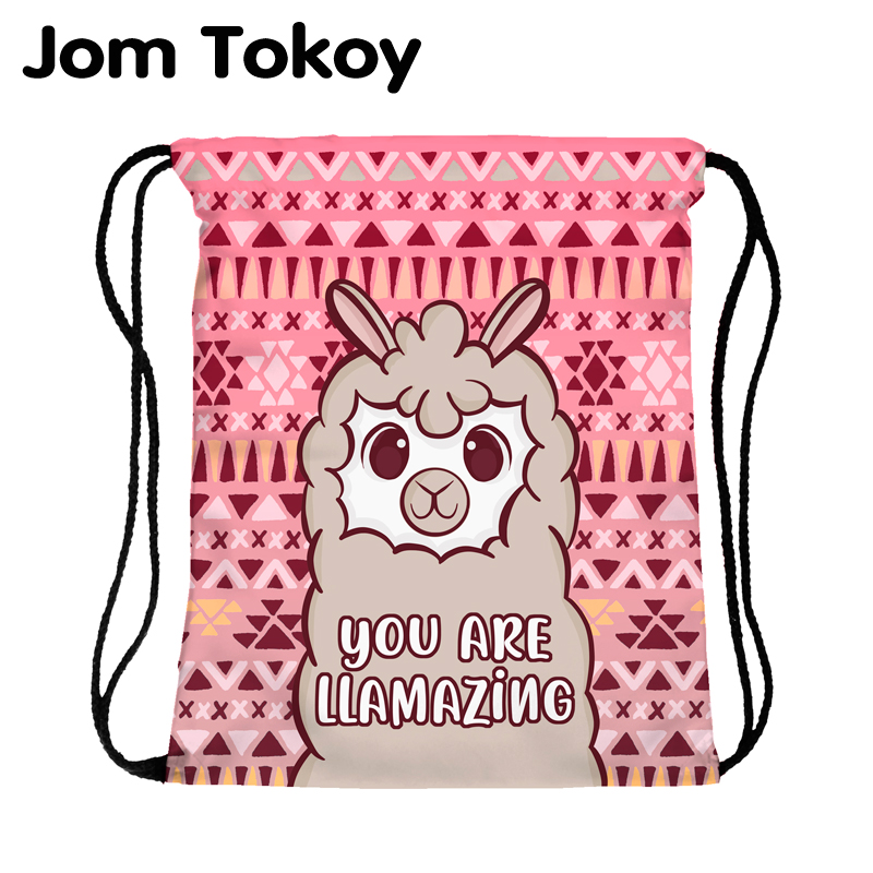 JomTokoy New Fashion Women Drawstring Backpack Alpaca Printing Travel Softback Women Mochila Drawstring Bags Skd27136