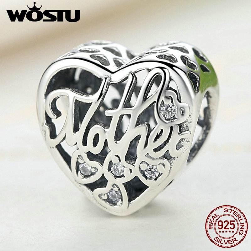 100% 925 Sterling Silver MOTHER & SON Bond Heart Charms Fit original WST Charm zapestnica Avtentični nakitni dodatki FLC083
