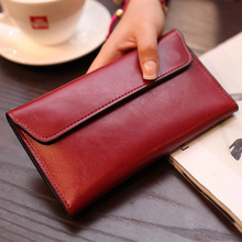 Womens Wallets and Purses Split Leather Long Solid Multicolor Fashion Card Holder Wallet Luxury Simple Purse New Arrival 2019